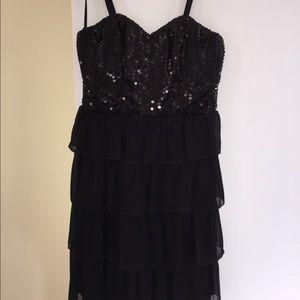 Black sequined, ruffle dress